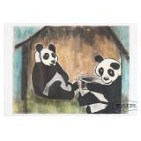 Vintage Pandas at National Zoo Pastel