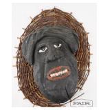 GF White Signed Folk Art Mask w/ Woven Back