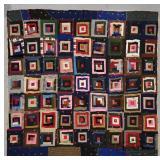 Mixed Textiles Log-Cabin Quilt