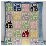 School House Patterned Cotton Quilt