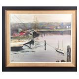 Original marina oil painting - Muriel T. Meyer