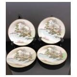 Set of 4 hand painted Japanese plates