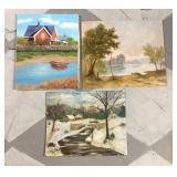 Lot of three original oil paintings