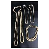 Lot of 5 faux pearl necklaces with sterling clasps