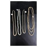 Lot of 4 faux pearl necklaces with sterling clasps