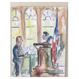 Courtroom painting on canvas