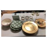 Box lot of dishes and stemware