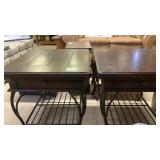 Pair of end tables metal base and drawers