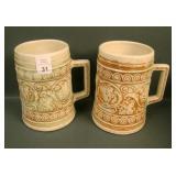 Pair of  Weller Ivory Leaf & Vine Handled Mugs