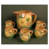 Roseville Pink Peony PitcherW/ 5 Mugs