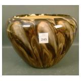 Weller Dark Marbleized Lg Cupped Bowl