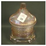LIG Ice Pink Pagoda Covered Honey Jar