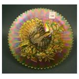 """9"""" N Peacocks Plate w/ Ribbed Ext. – Green (rare &"""