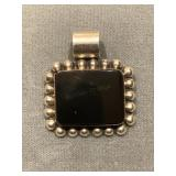 Sterling Silver Pendant With Large Black Onyx