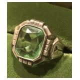 Vintage Sterling Silver Ring With Light Green
