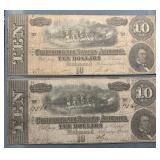 2x Confederate  $10 Bills. 1864