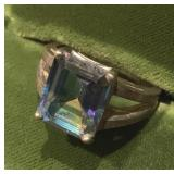 Vintage Sterling Silver Ring With Deep Blue Stone