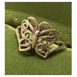 Sterling Silver Butterfly Filigree Ring