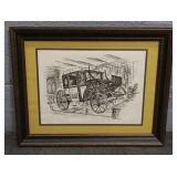 Framed  Art - London Horse & Buggy Taxi