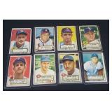 8x Scarce 1952 Topps Baseball Cards.