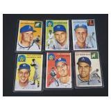 6 X Bid 1954 Topps Baseball Cards