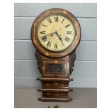 Antique New Haven Inlaid Wall Clock
