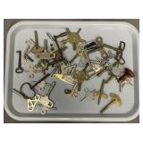 Large Lot Of Clock Keys Many Old Ones