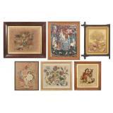 6 Framed Estate Needlepoint Tapestries