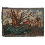 Hand Made Scenic Hooked Rug