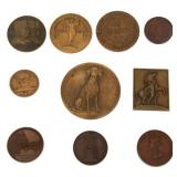 10 Assorted Bronze And Copper Medallions