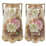 Pr. Large Nippon Porcelain Vases