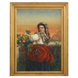M. Ash O/C Woman With Fruit Basket