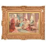 Oil On Canvas Interior Parlor Scene