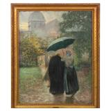 Lg. Van Hollebeke Oil On Canvas Rainy Day