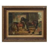 E. Victor Oil On Canvas Stable Scene