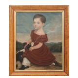 Folk Art Oil On Panel Portrait