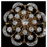 14K Diamond Floriform Brooch