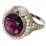 14K, Rhodolite & Pearl Ring