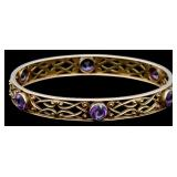 14K and Amethyst Bangle Bracelet