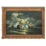 Large 20th Century Oil On Canvas Naval Battle