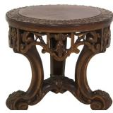 17 in. Carved Walnut Plant Stand