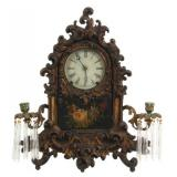 N. Batchelor Iron Front Girandole Mantle Clock