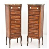 Pr. French 7 Drawer Marble Top Lingerie Chests