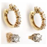 2 Pairs 14K Gold and Diamond Earrings