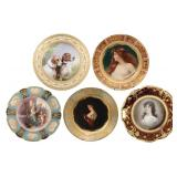 5 Painted Porcelain Portrait Plates