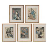 5 Japanese Woodblock Prints