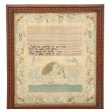 "Hand Stitched Sampler ""Sally Sawyer, 1808"""