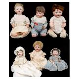 6 Bisque Head Character Dolls