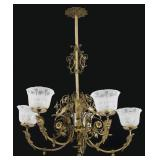Brass 5 Arm Chandelier With Winged Griffins