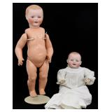 2 Large Bisque Head Dolls